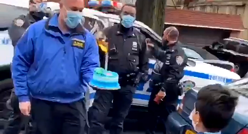 Police Bring Cake to Quarantined Boy