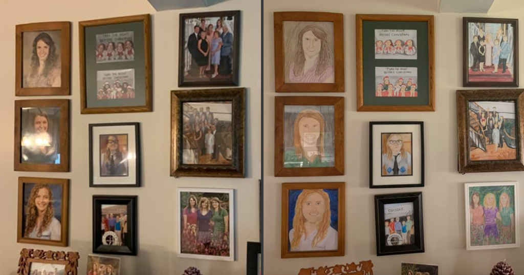 Family Photos Become Crayon Drawings