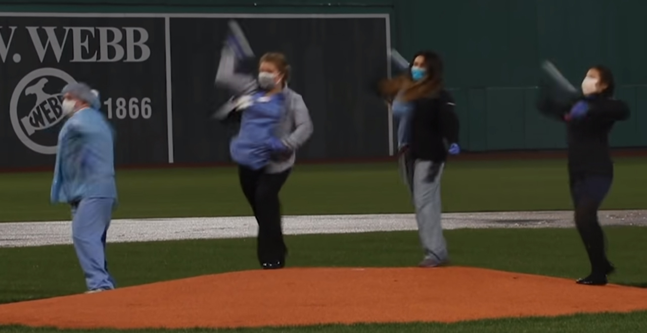 COVID Unit Throws First Pitch