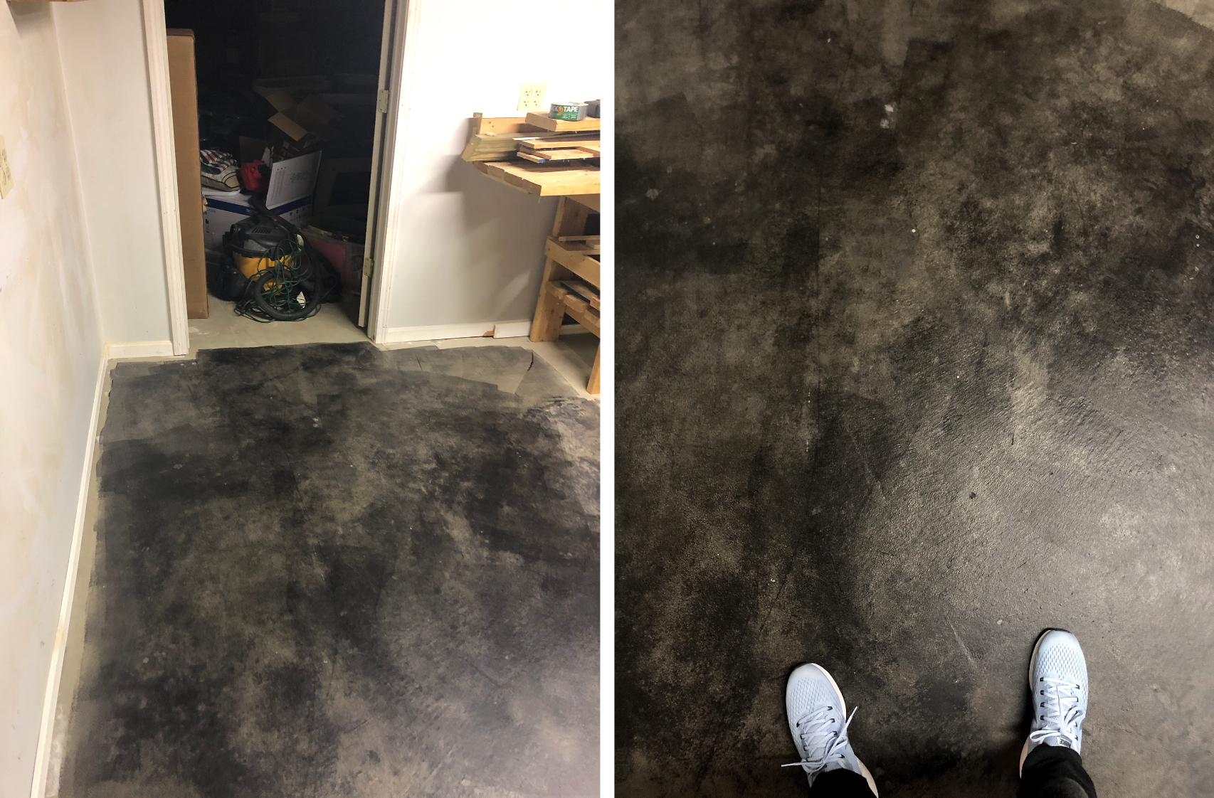 how to stain concrete floors - diy basement upgrade for cheap