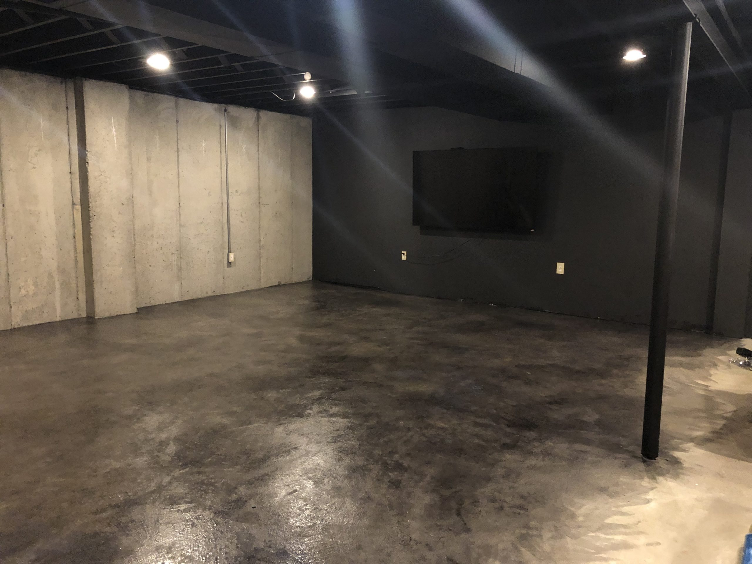 After Finished Result: how to stain concrete floors - diy basement upgrade for cheap
