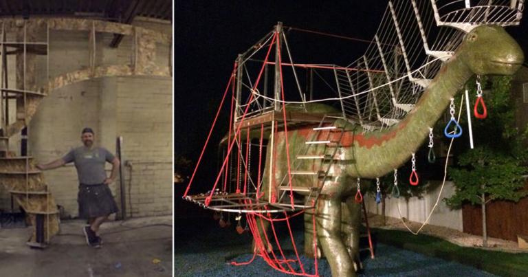 A Dad Built His Kids an Unbelievable 48-Foot Dinosaur Jungle Gym