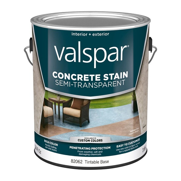 Best products for DIY staining concrete floors: Valspar Semi-Transparent Concrete Stain