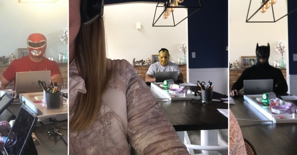 Costumed Dad Won't Stop Photobombing Wife's Conference Calls