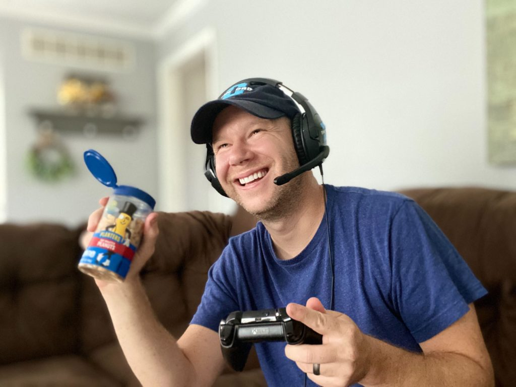 Joel gaming with pop n pour