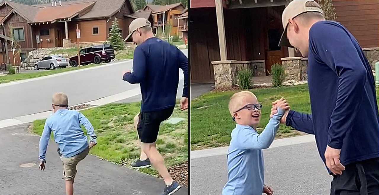 """Boy Tells Dad """"I'm So Proud of You"""" After Teaching Him to Skip"""