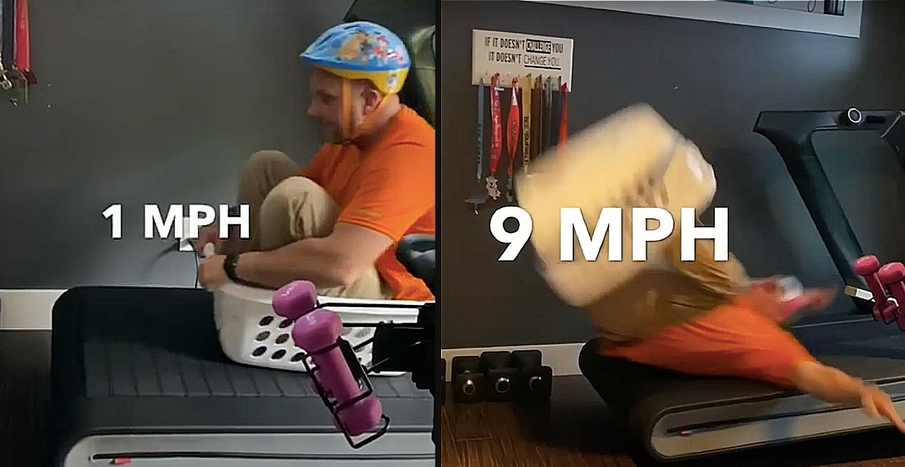 Dad Sees How Fast He Can Go On His Treadmill - In a Laundry Basket
