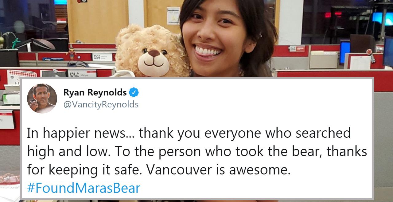 Ryan Reynolds Helps Locate Bear