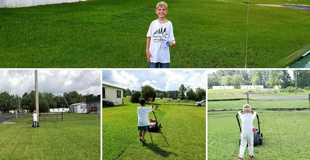 Big-Hearted 8-Year-Old Mows Lawns for Single Moms First Responders