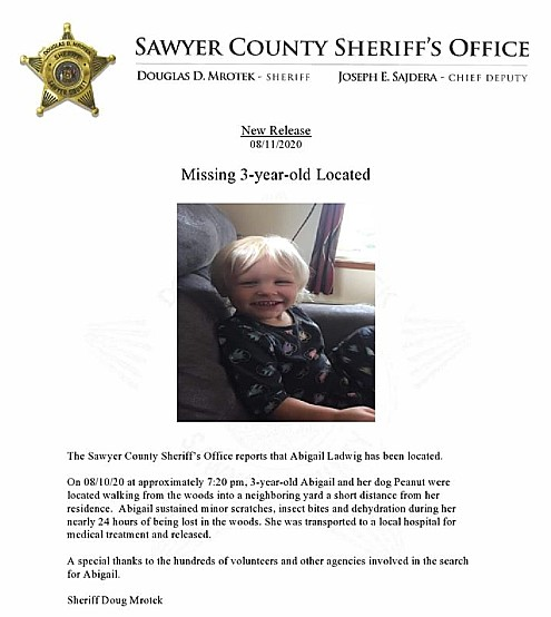Missing 3-year-old Found