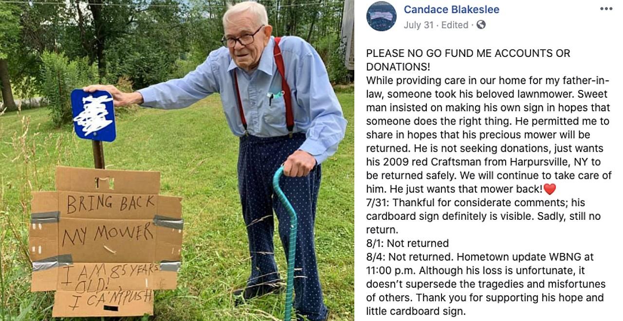85-Year-Old Stolen Lawn Mower
