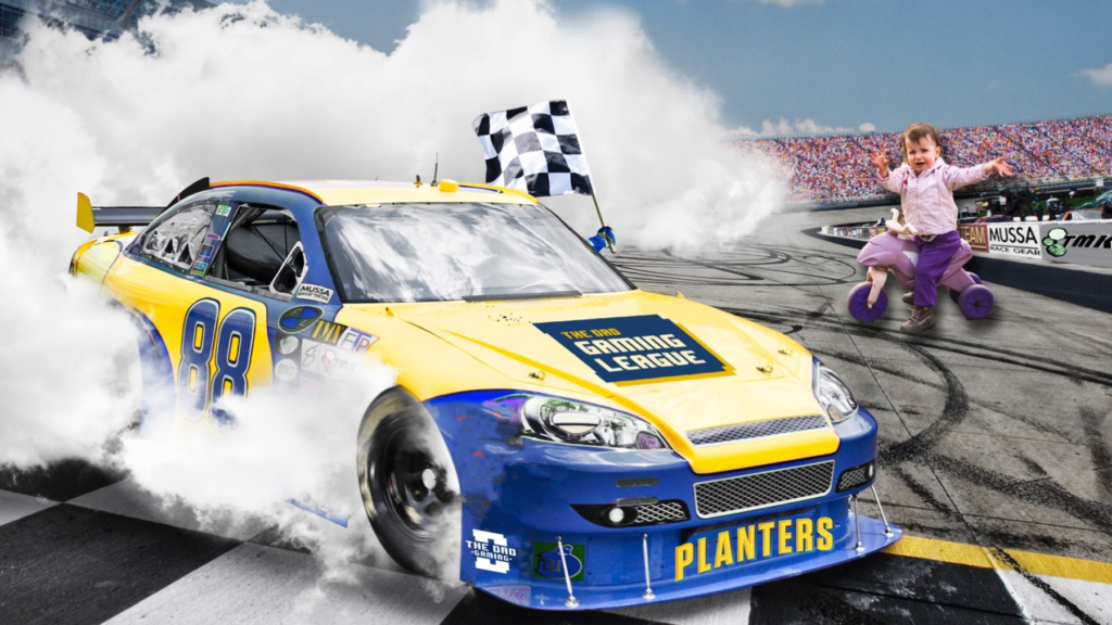 Dad's racecar crosses the finish line