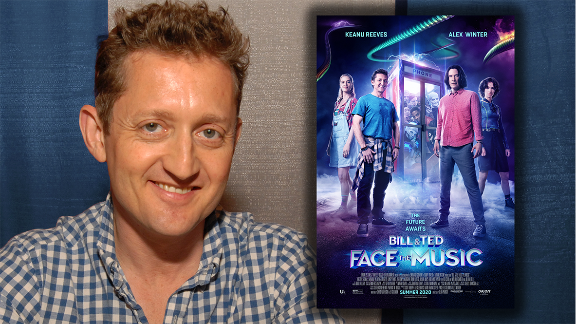 Alex Winter headshot with Bill & Ted Face the Music Poster