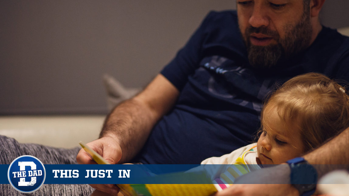 Tired Dad Reading Story