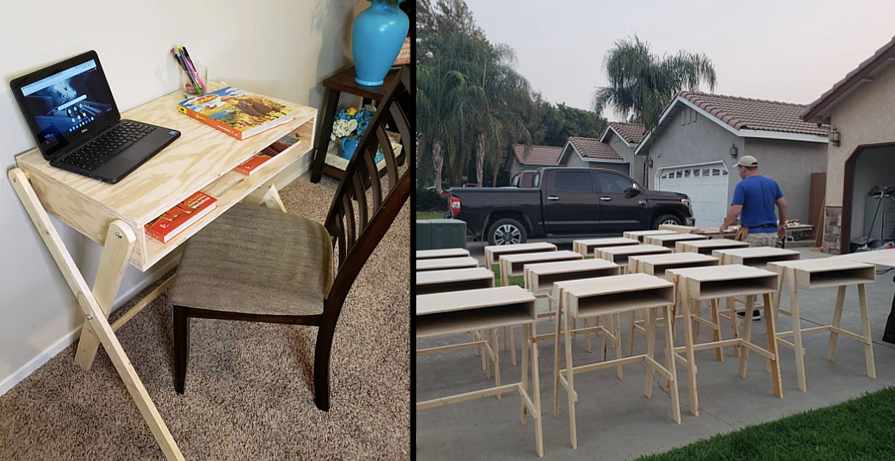 Dad builds 35 desks for kids in need