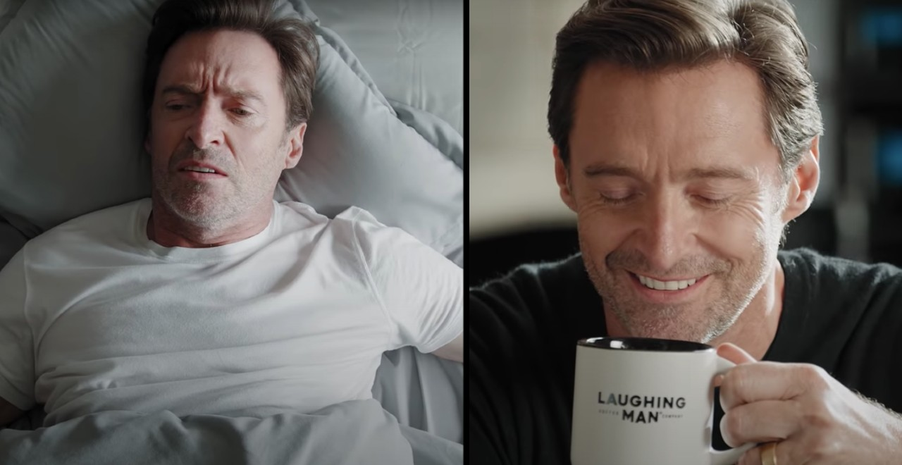 Hugh Jackman Ryan Reynolds Laughing Man Coffee Commercial