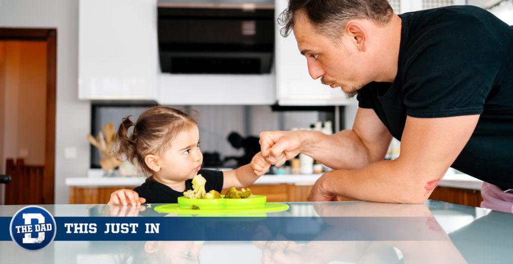Dad Toddler Broccoli Standoff