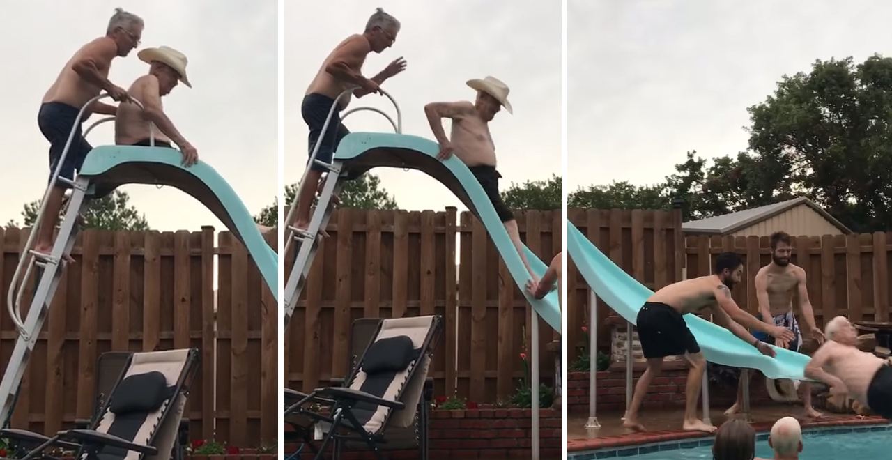 Great Grandfather Conquers Water Slide