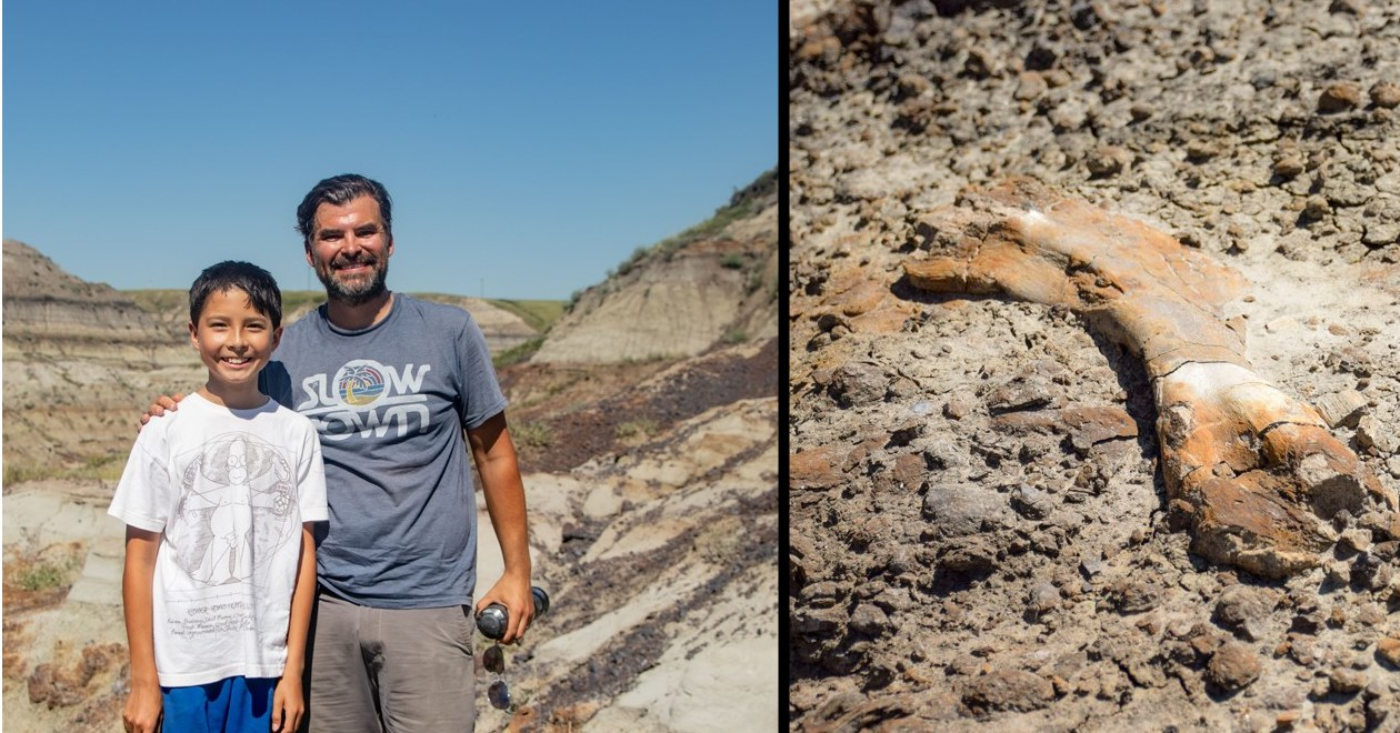 dad and son find fossil