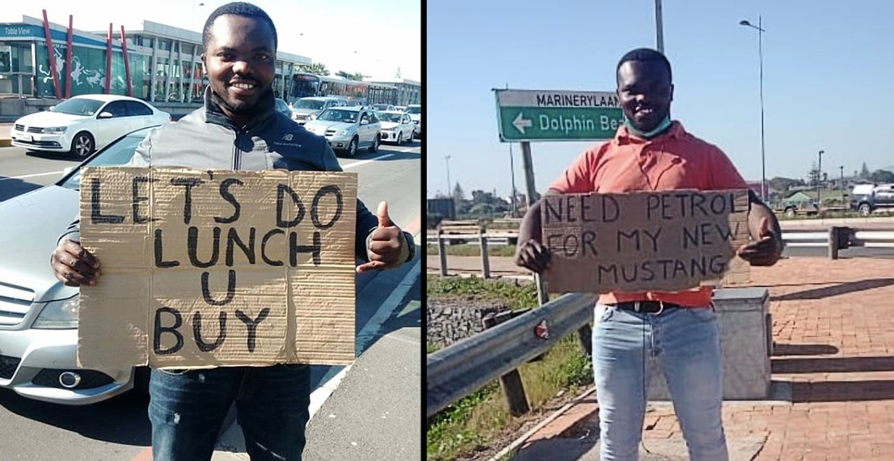 After losing job, dad makes signs to make people smile