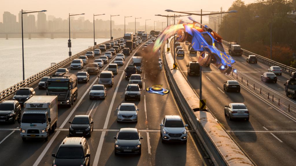 Rocket League Car on Busy Freeway