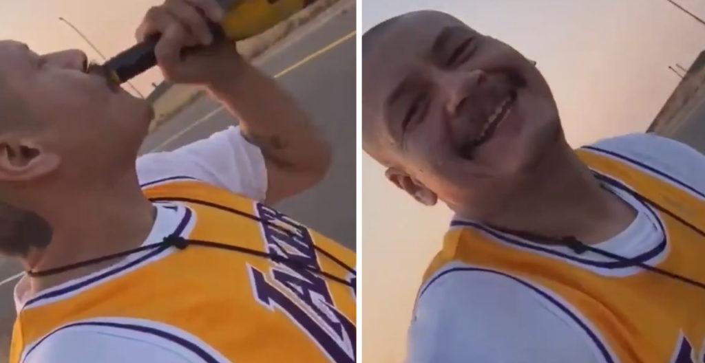 Nathan Apodaca celebrating Lakers