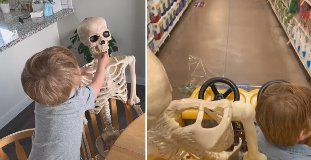 Toddler and Skeleton