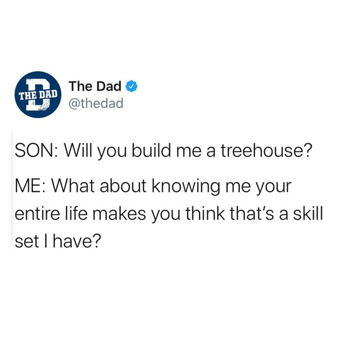 Son: will you build me a treehouse? Dad: What about knowing me your entire life makes you think I have that skill set?