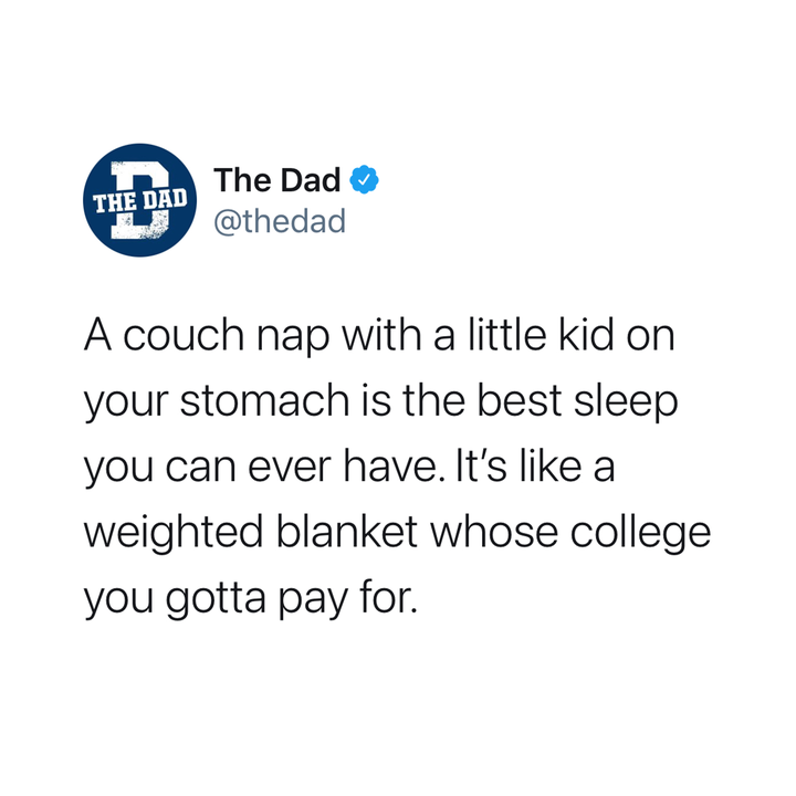 a couch nap with a little kid on your stomach
