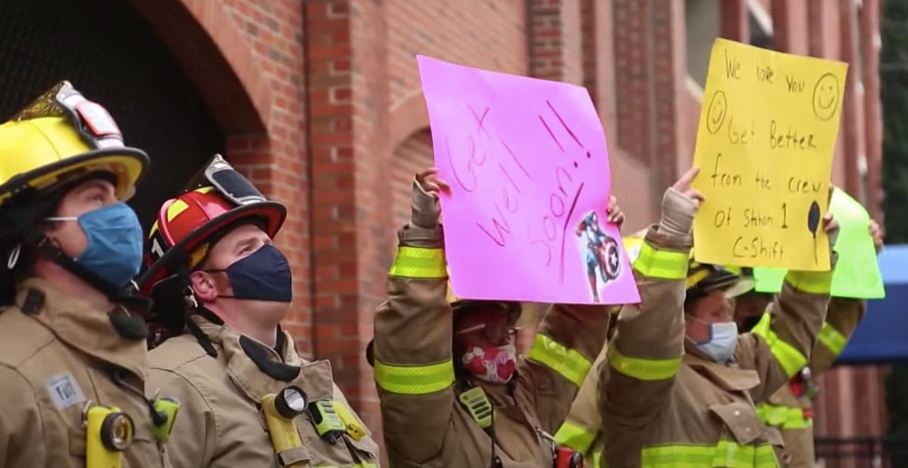 Firefighters surprise colleague's son battling cancer