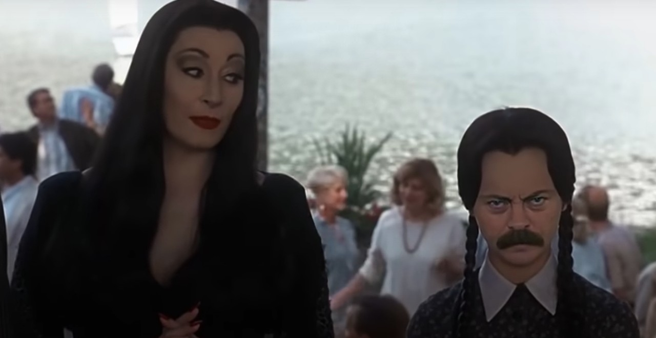 Ron Swanson as Wednesday Addams