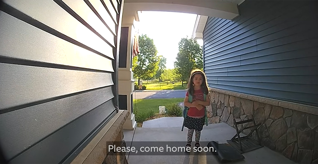 Kids Use Doorbell for Deployed Dad