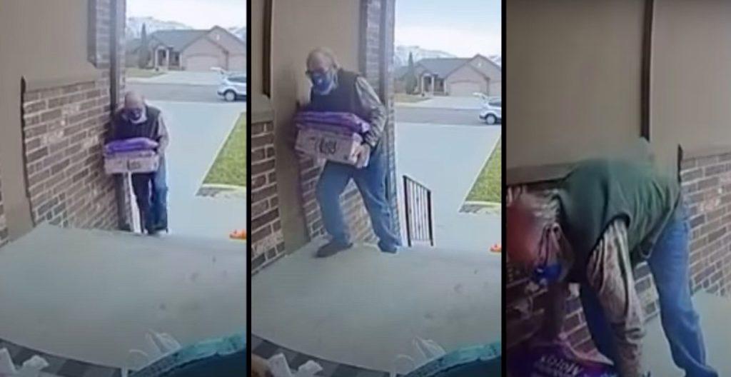 Woman helps elderly man delivering groceries