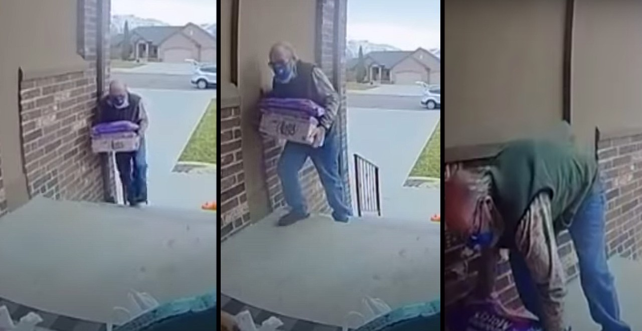 Woman helps elderly man delivering groceries