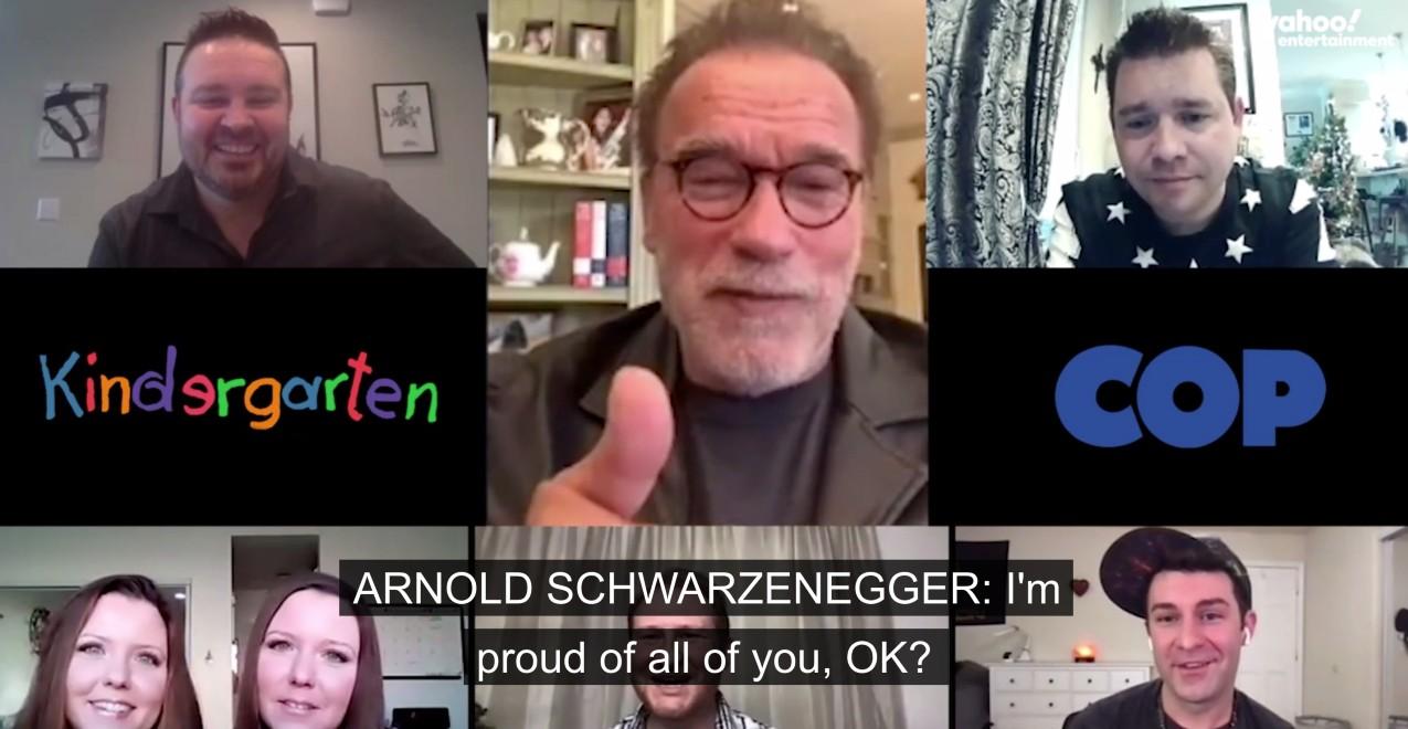 Arnold Schwarzenegger reunites with Kindergarten Cop cast