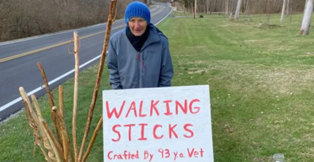93-Year-Old Veteran whittles walking sticks for food pantry donations