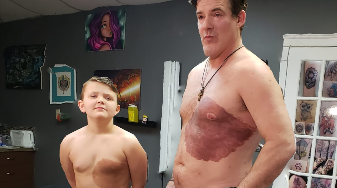 Dad spends 30 hours getting tattoo of son's birthmark