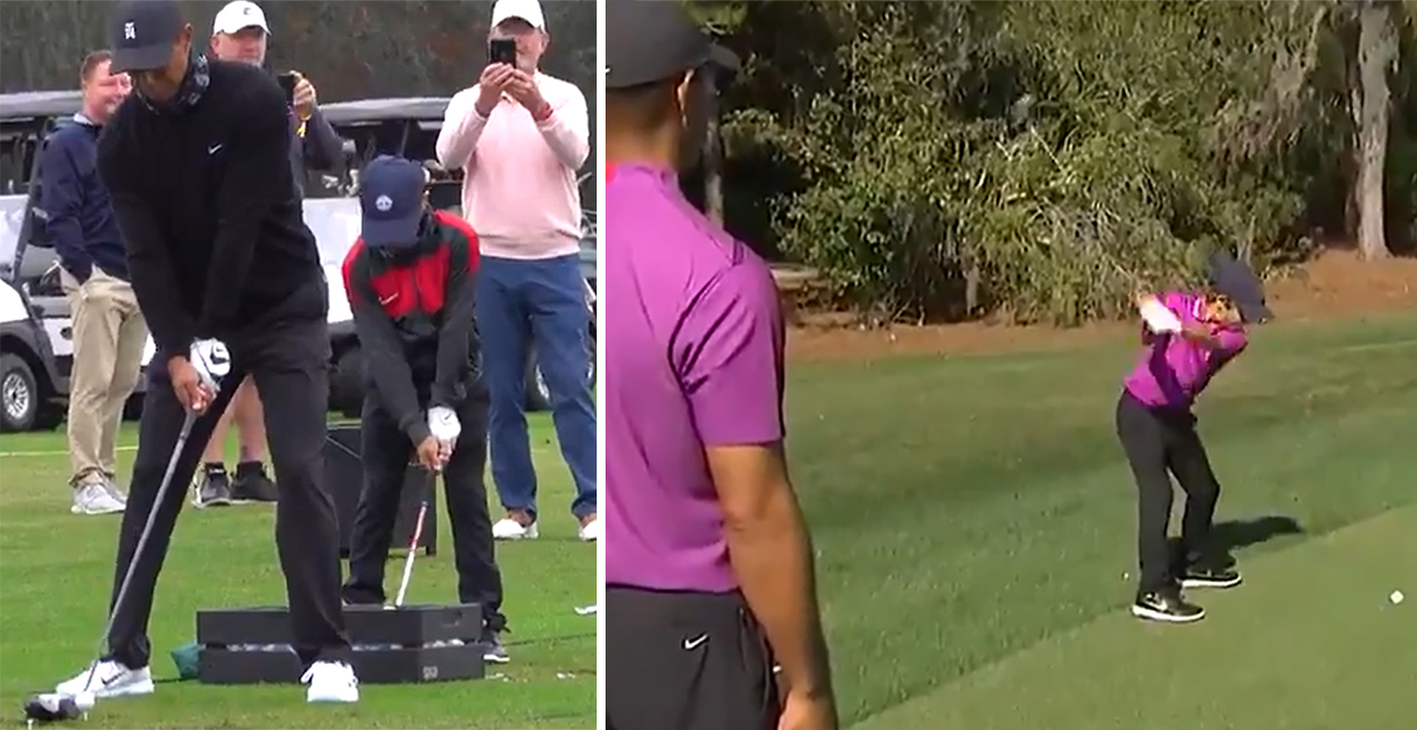 Tiger and Son Play Golf