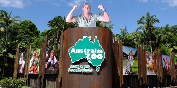 signage at the Australia Zoo featuring Steve Irwin