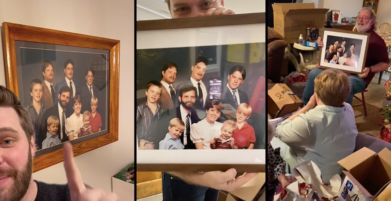 Son hilariously fixes family photo for his dad