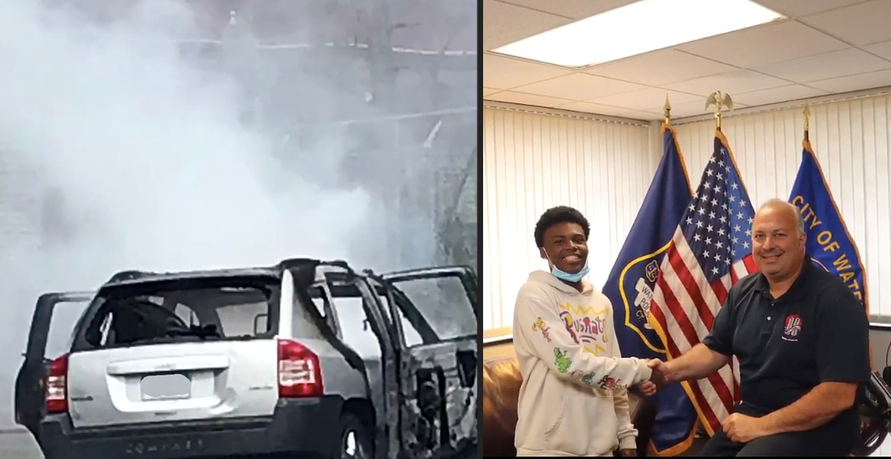 Hero teen saves mom and kids from burning car