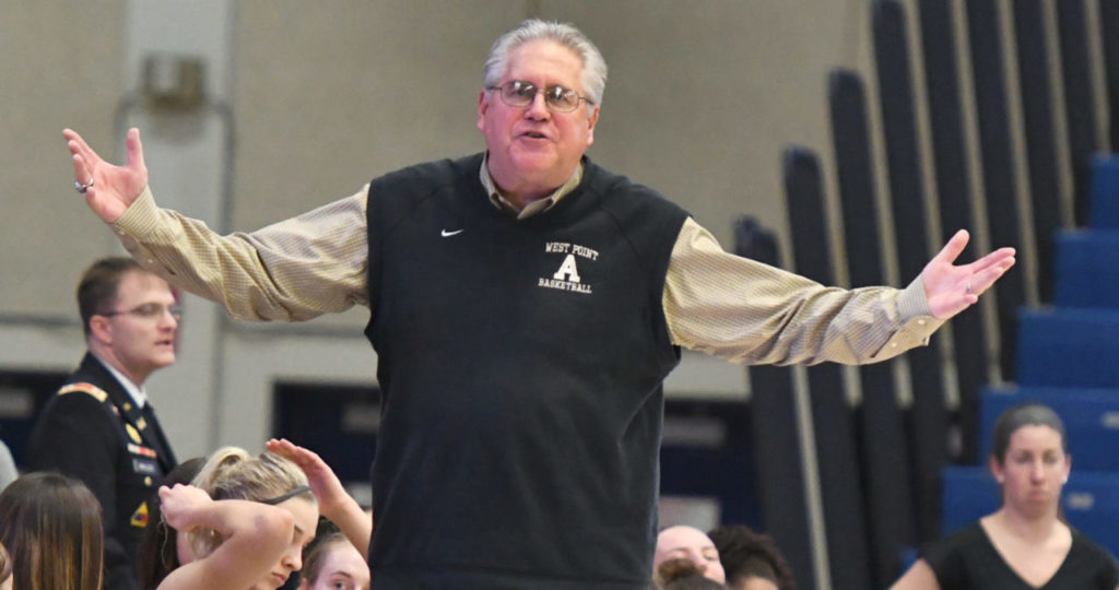 Head coach Dave Magarity of the Army Black Knights women's basketball team