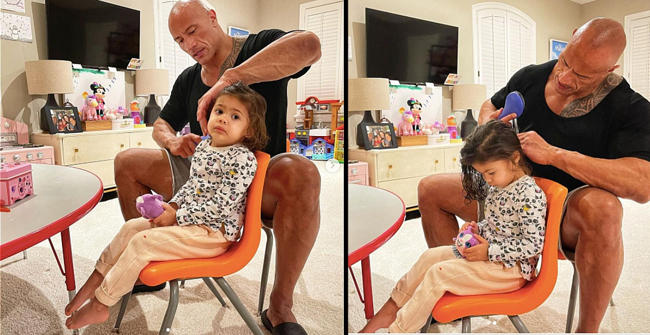The Rock does daughter's hair