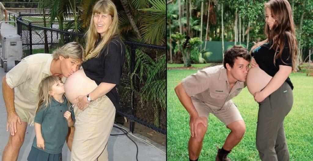 Bindi Irwin recreates parents' maternity photo with husband Chandler