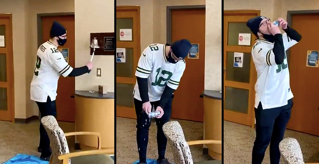 Legend celebrates end of chemo by shotgunning beer in hospital