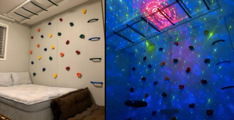 Dad builds climbing room for sons