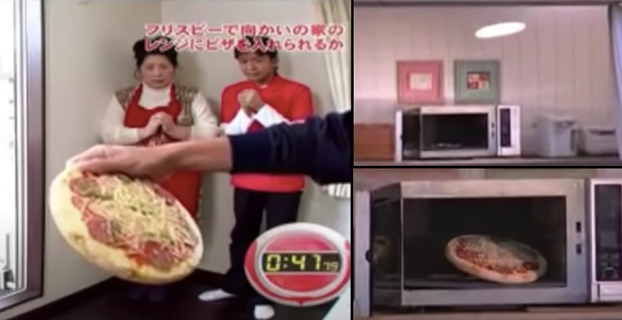 Pro frisbee player tosses pizza into microwave
