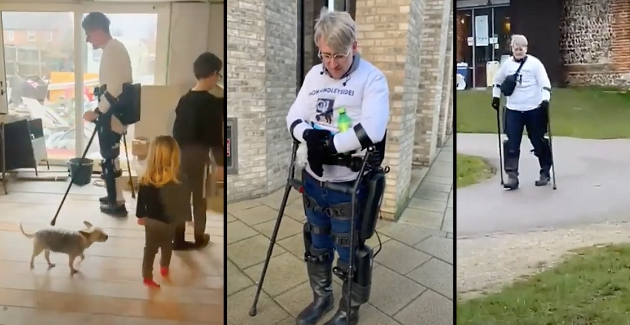 Paralyzed dad walks 125 miles in robotic suit for charity