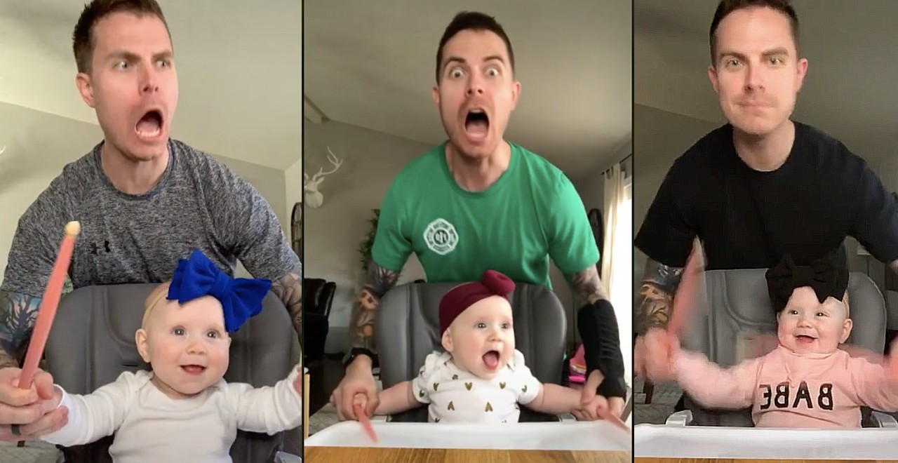 Heavy metal baby and her dad rock out on TikTok