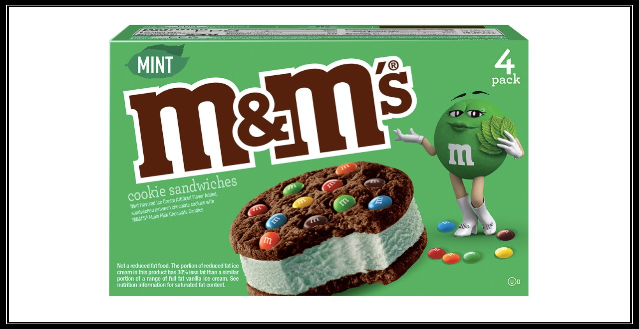 M&M's St. Patrick's Day ice cream sandwich